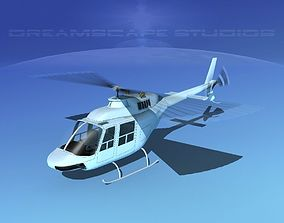 3D model animated Bell 206 Unmarked