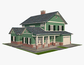 Traditional House 13 3D asset game-ready