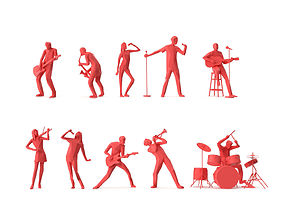 Low Poly Posed People Pack 14 - Music 3D model