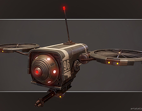 3D model Lowpoly PBR Sci-FI Military Drone