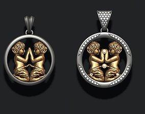 Horoscope Gemini twins pendant pack 3D printable model