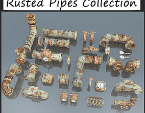 3D asset Rusted Pipes Plumbing Stock