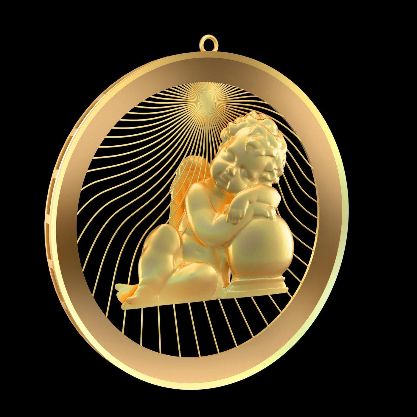 Sleeping-Angel-Pendant-jewelry-Gold 3D print model