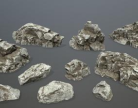 mossy rocks set 3D asset realtime