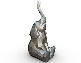 Elephant figure low poly 3 3D print model