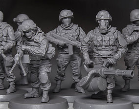 Soldier squad 28 mm scale 3D print model