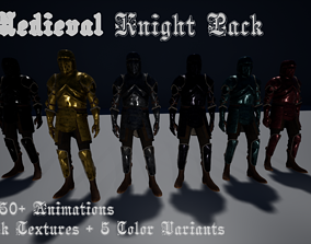 4k Animated Medieval Knight pack Fantasy Warrior 3D model