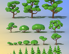 3D model Low Poly Forest Trees Pack
