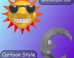 Cartoon Style Sun And Moon 3D model