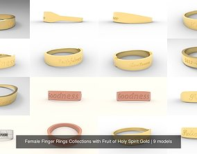 3D model Female Finger Rings Collections with Fruit of 2