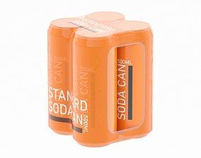Four Shrink Film Soda Can 500ml 3D model