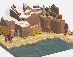 3D model Isometric style lake autumn mountain landscape