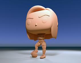Custom Pop Soccer Football Girl DIY Figure 3D Print Model