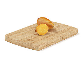3D model Cutted Yams on Wooden Board