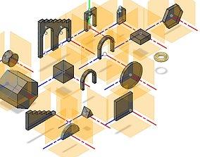 Geometric shapes for hobelind 3D printable model