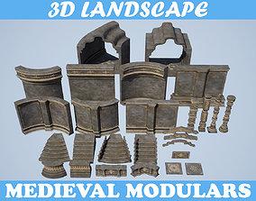 Low poly Medieval modular construction Pack 3D asset