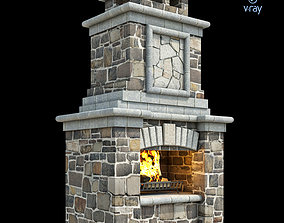 3D model Outdoor Fireplace 015