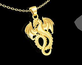 Dragon pendant jewelry gold necklace 3D print model