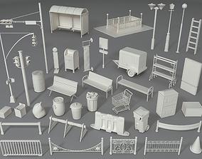 3D model Street Elements - Part - 4 - 39 pieces