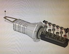 3D model 6 Cylinder engine and gearbox