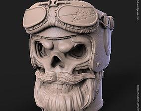 Biker skull vol1B pen holder 3D printable model