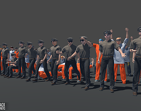 3D asset Characters pack - guards and prisoners