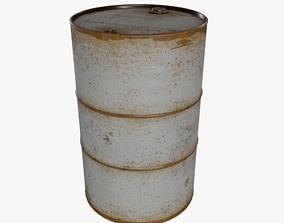 3D asset White Rusty Oil Drum