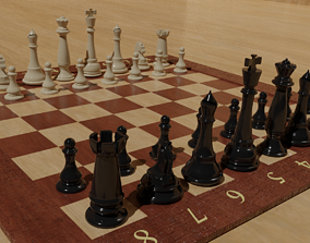 Chess Board with detailed Pieces 3D