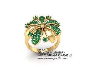 3D printable model 806 Diamond Flower Ring for women