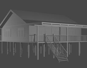 Wooden House with Veranda on Stilts 3D