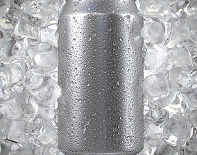 Beverage Can with Ice Cubes and Water Droplets 3D model