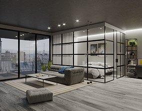 3D Glass Bedroom Scene for Cinema 4D Corona Renderer and 1