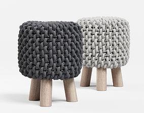 3D Chunky Knit Mini Stool