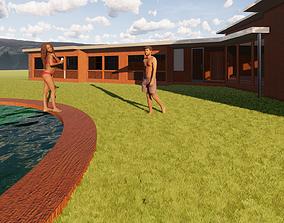 3D model animated Farm House