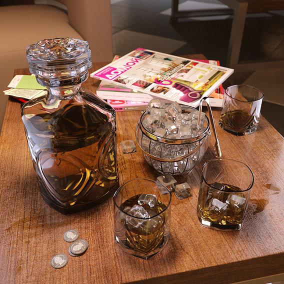Whiskey set with ice bucket
