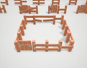 Stylized Modular Fence 3D asset