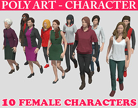 Low poly Character Pack 02 - Casual Females 3D asset