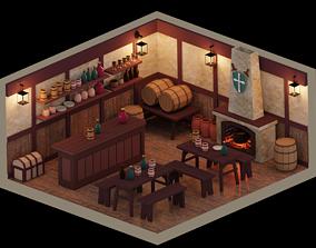 Low Poly Tavern Medieval 3D asset