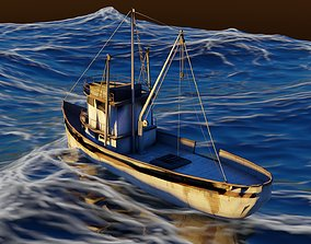 3D asset game-ready vehicle fishing boat