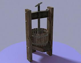 Antique wine press 3D asset low-poly