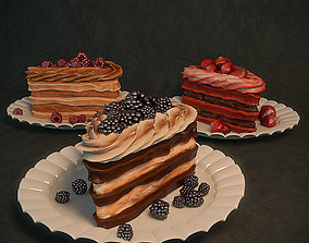 Cake with berries 3D