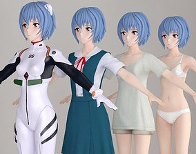 T pose nonrigged model of Rei Ayanami anime girl