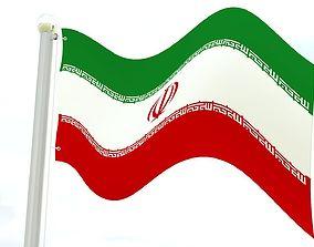 3D asset Iran flag