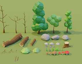 3D model Low Poly Nature Asset Pack