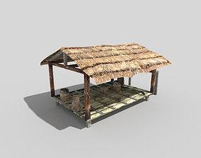 3D asset low poly beach hut