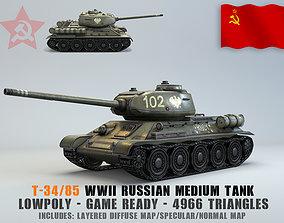 3D model Low Poly T-34 85 medium tank