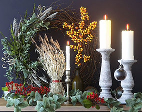 Decor with candles and branches 3D