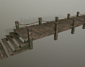 wooden pier 3D asset low-poly