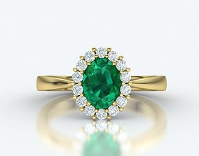 Diana Classic ring with 8x6 center stone 3dmodel