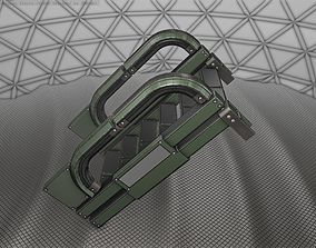 Sci-Fi Stairs - 2 - Green Version 3D asset game-ready